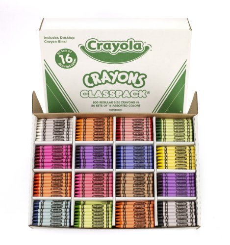 Crayola Classpack Assortment, 800 Regular Size Crayons, 16 Different Colors