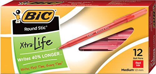 BIC Round Stic Xtra Life Ball Pen, Medium Point