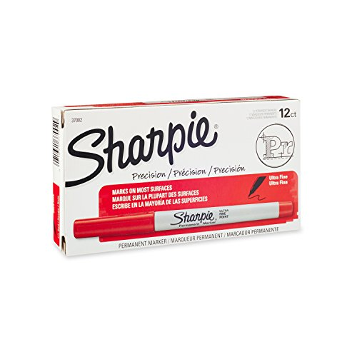 Sharpie Permanent Markers, Ultra Fine Point, Red, 12-Count