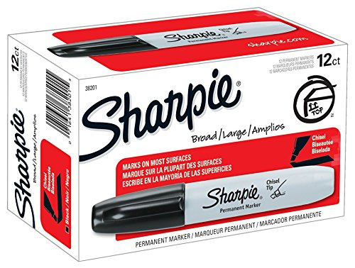 Sharpie Permanent Markers, Chisel Tip, Black, 12-Count