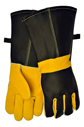 G & F 8115 Premium Grain Leather Gloves, BBQ gloves, Grill Gloves, Fireplace Gloves, Cotton lining with 14.5-Inch Extra Long Sleeve Heat Resistant Gloves