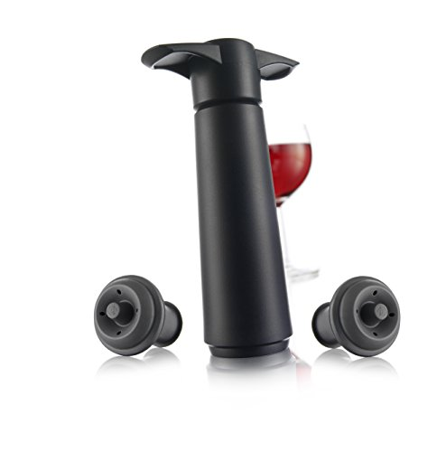 Vacu Vin Wine Saver Pump with 2 x Vacuum Bottle Stoppers - Black