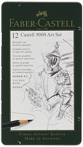 Faber-Castell Castell 9000 Smooth Graphite Pencil, Assorted Tip, Black, Pack of 12