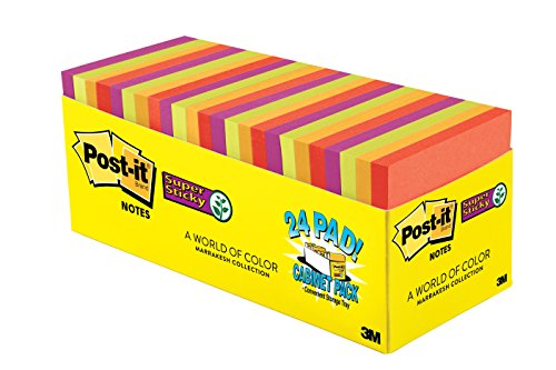 Post-it Super Sticky Notes, 3 in x 3 in, Marrakesh Collection, 24 Pads/Pack, 70 Sheets/Pad, Cabinet Pack