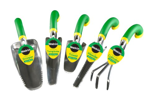 Miracle-Gro MG5SET 5-Piece Ergonomic Hand Tool Set, Includes Trowel, Transplanter, Weeder, Cultivator, and Scooper