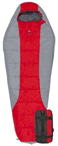 TETON Sports Tracker +5F Ultralight Sleeping Bag Perfect for Backpacking, Hiking, and Camping; Red/Grey