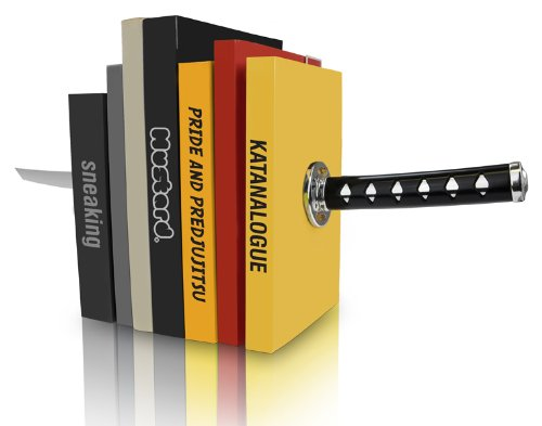 Mustard Katana Bookends - Magnetic Decorative Bookends with Samurai Sword Design