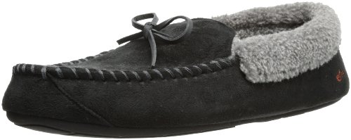 Dockers RYAN Casual Moccasin Slipper with Synthetic Sherpa Roll Collar, Black, 11-12 XL