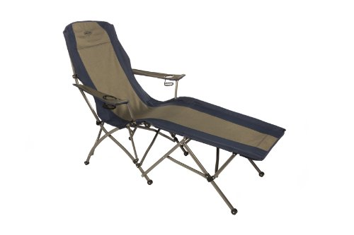 Kamp-Rite Folding Lounge Chair, Tan/Blue