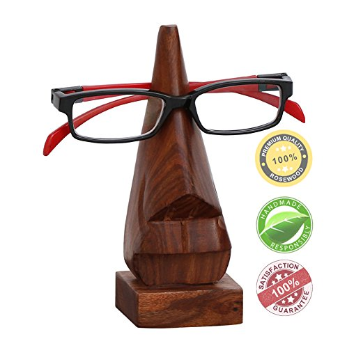 "Festival Sale - SouvNear 6"" Witty Wooden Spectacle Holder - Wood Nose Premium Quality Eyeglass Holder / Spectacle Display Stand - Desktop Accessory Unique and Funny Gift Ideas"