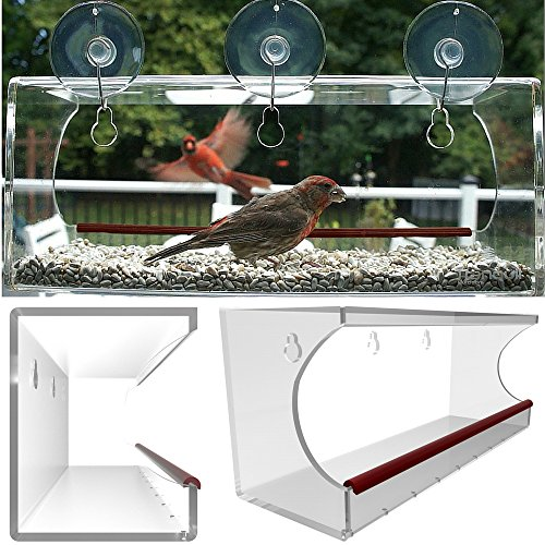 Tranquil Acrylic Window Mounted Bird Feeder with 3 Suction Cups and Hooks, Large, Clear