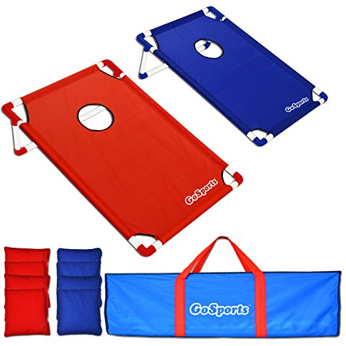 GoSports Portable PVC Framed CornHole Game Set with 8 Bean Bags and Carrying Case