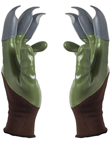Honey Badger Garden Gloves For Digging & Planting- No More Worn Out Fingertips Unisex Claws On Both Hands Olive Green & Gray Claws Patent Pending