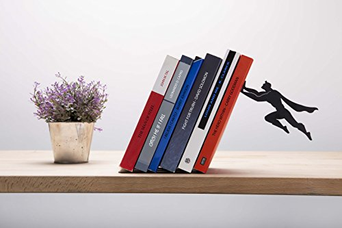 "AD101 - ""Book & Hero"" - Black Metal Superhero Bookend, Unique Bookends, Gifts for Geeks, Gifts for Book Lovers, Cool Book Stopper"