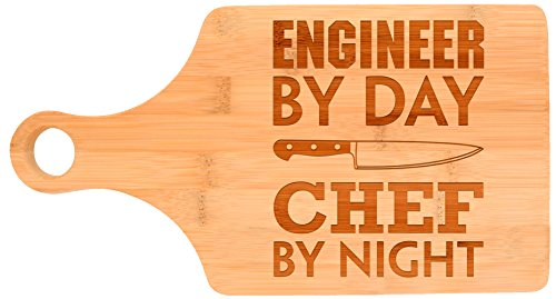 Engineering Gift Engineer By Day Chef By Night STEM Math Paddle Shaped Bamboo Cutting Board Bamboo