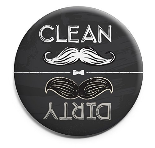 Retro-style Chalkboard Mustache Clean-Dirty Dishwasher Magnet Made in USA