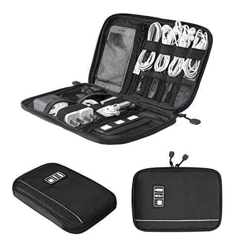 BAGSMART Travel Universal Cable Organizer Electronics Accessories Cases For Various USB, Phone, Charge and Cable, Black