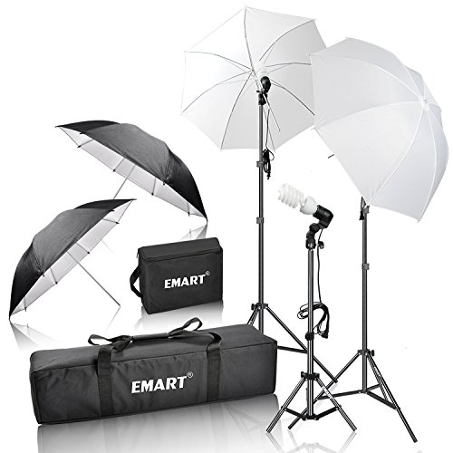 Emartinc EM-ULK45 Photography Light Photo Video Studio Umbrella Lighting Kit, 600W