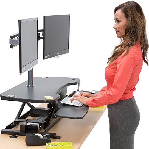 Power Sit-To-Stand Desk Converter - Electric Push-Button Standing Desk - by VersaTables