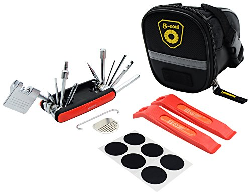 Malker Bike Repair Kit Bicycle Seat Saddle Bag 17 in 1 Multi Function Bike Tool Set Tire Lever Chain Tool