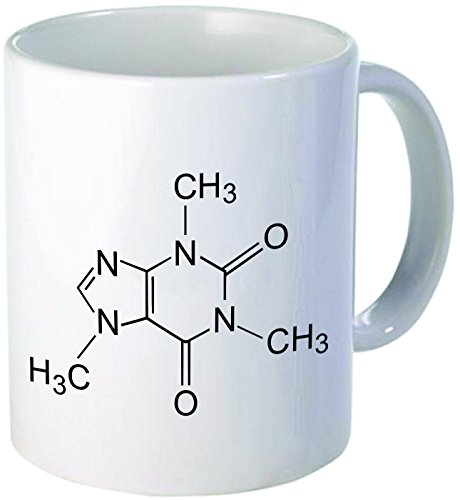 "Funny ""Caffeine molecule"", 11OZ Coffee Mug Novelty, Office, Job. By Aviento"