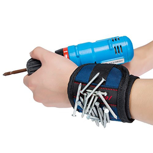 Magnetic Wristband,Aieternal Super Strong Magnets Surround Almost Entire Wrist Keeps Screws, Nails and Light Tools Handy While Working.