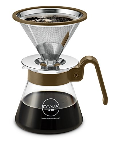 "Osaka Pour Over Coffee Dripper 20 oz capacity, Color Series - Full Starter Set for Drip Coffee Lovers. ""Sumiyoshi Taisha"""