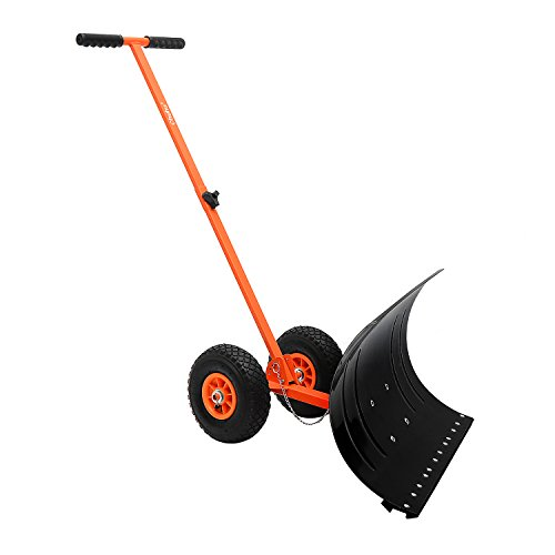 Ohuhu Adjustable Wheeled Snow Pusher Heavy Duty Rolling Snow Shovel